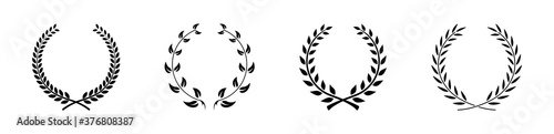 Fotografering Circular laurel foliate chaplet black symbol silhouette vector set collection