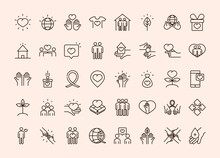 Community Together Charity Donation And Love Line Icons Set