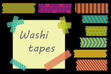 Colorful Adhesive Tape. Strips Of Colored Tape. Colored Labels On A Black Background. Vector Illustration. Stock Image.
