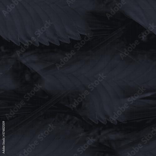 Fotomural Dark moody almost black leaf seamless pattern