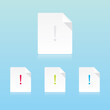 Vector Modern Important Document Icons With Exclamation Mark