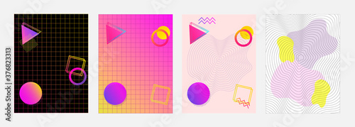 Photo Set of abstract posters with colorful gradients, shapes, grids and lines blend