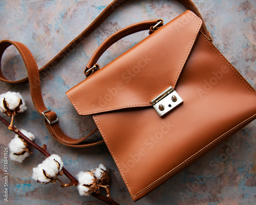 Foto Brown leather bag