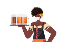 Woman In Medical Mask Holding Beer Mugs Oktoberfest Party Celebration Coronavirus Quarantine Concept African American Girl In German Traditional Clothes Portrait Horizontal Vector Illustration