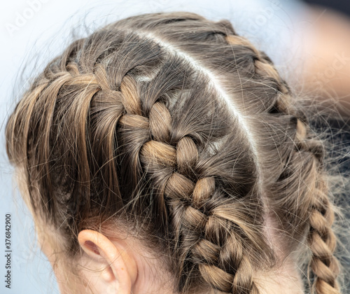 Pigtails on the girl's head.