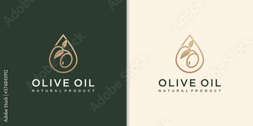 Tablou Canvas modern olive oil logo with leaf combination and business card