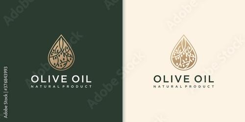 Obraz na plátne modern olive oil logo with leaf combination and business card