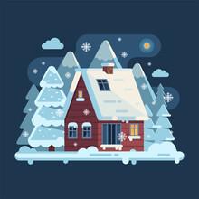 Winter Cozy House Snowy Scene ...
