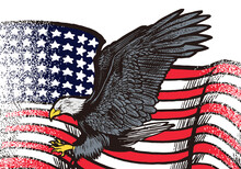 Hand Drawn Flying Eagle With American Flag Illustration Isolated On White Background. Flying Eagle With American Flag For Logo, Emblem, Wallpaper, Poster Or T Shirt. American Symbol Of Freedom.