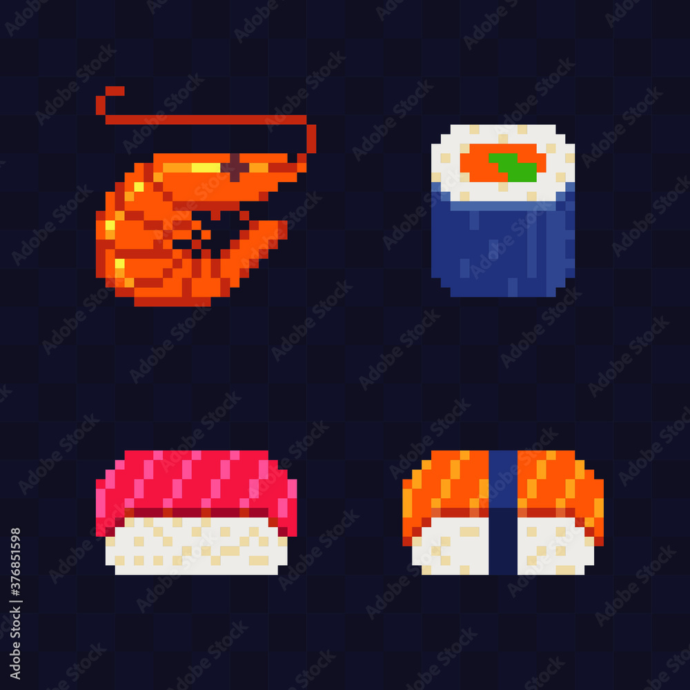 Fototapeta Sushi and rolls food, shrimp, pixel art icon japanese cuisine isolated vector flat illustration element design for menu, stickers, logo, mobile app. Video game assets 8-bit sprite.