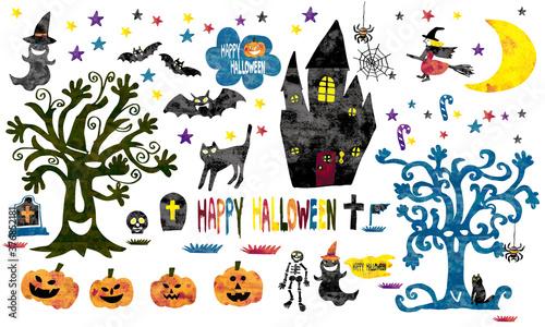 Photographie ハロウィン halloween 魔女 かぼちゃ 黒猫 木 おばけ ガイコツ 城 こうもり 墓 クモ