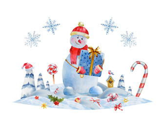 Watercolor greeting Christmas and new year illustration