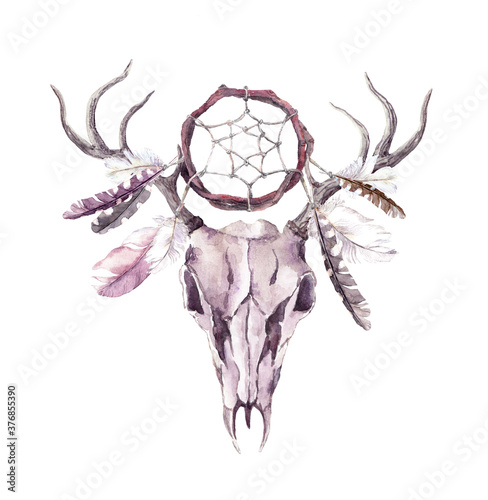 Papel de parede Deer animal skull with dream catcher, feathers. Watercolor