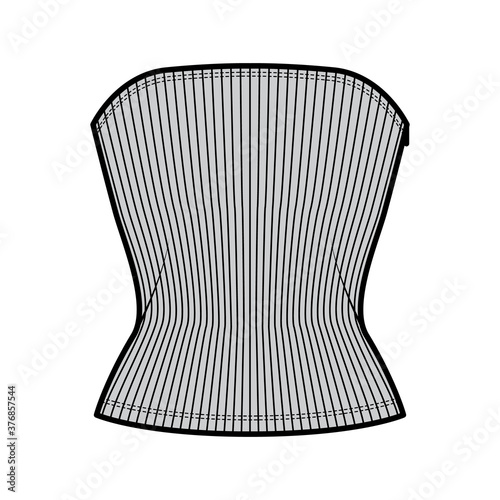 Fototapeta Ribbed tube top technical fashion illustration with side zip fastening, fitted body, round neckline, slim fit