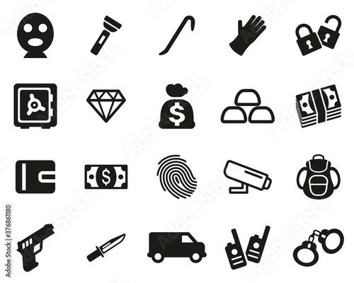 Fototapety, obrazy: Thief Or Burglar Icons Black & White Set Big