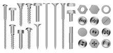 Realistic Metal Screws. Construction Steel Screw, Hex Cap Nuts, Rivets And Bolts, Drywall Metal Fastening Vector Illustration Icons Set. Hardware Objects For Fixing, Repairing And Construction