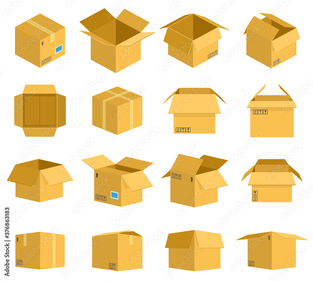 Fototapeta Cardboard box. Carton delivery packaging boxes, open and closed cardboard storage, mail postal parcel packaging vector illustration icons set. Objects for transportation or shipping of products