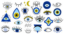 Evil Eye Symbols. Hand Drawn E...