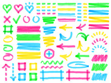 Highlight Markers. Colorful Marker Strokes, Yellow Highlights Arrows, Frames And Check Marks, Green Hand Drawn Symbols Vector Illustration Set, Different Shapes As Heart, Square, Rectangle