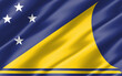 Silk wavy flag of Tokelau graphic. Wavy Tokelauan flag illustration. Rippled Tokelau country flag is a symbol of freedom, patriotism and independence.