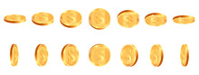 Realistic Gold Coins. Golden Shiny Cash Coin, Jackpot Coin Dollar Animation, Gold 3D Treasure Prize, Golden Money Vector Illustration Icons Set. Gambling Concept, Winning In Casino