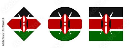 Fotografie, Tablou kenya flag icon set. isolated on white background