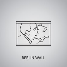Berlin Wall Icon On Grey Background. Germany, Berlin. Line Icon