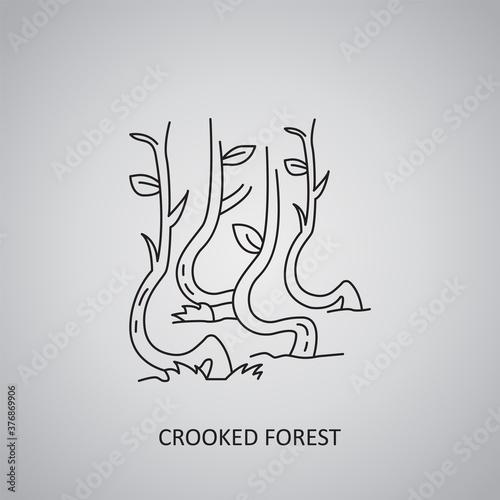 Obraz na plátně Crooked forest icon on grey background