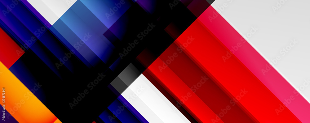 Fototapeta Geometric abstract backgrounds with shadow lines, modern forms, rectangles, squares and fluid gradients. Bright colorful stripes cool backdrops