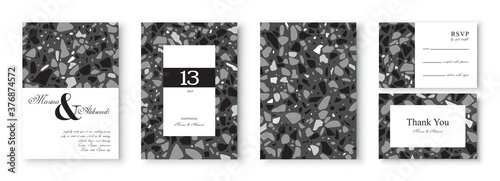 Fotografie, Obraz Abstract wedding invitation template design with terrazzo pattern in black and white colors