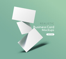 Floating Stack Of Business Cards On A Green Background. Brand Identity Mockup Design With Shadows. Vector Illustration.
