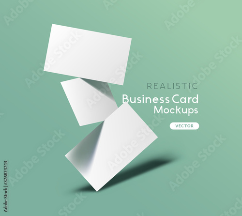 Fototapeta Floating stack of business cards on a green background. Brand identity mockup design with shadows. Vector illustration. obraz