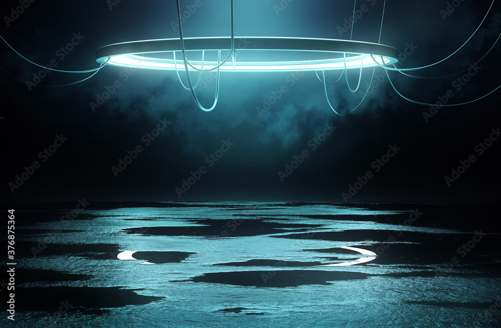 Photo Illuminated Stage platform and lighting concept with a circular loop light and reflective flooring with wet puddles