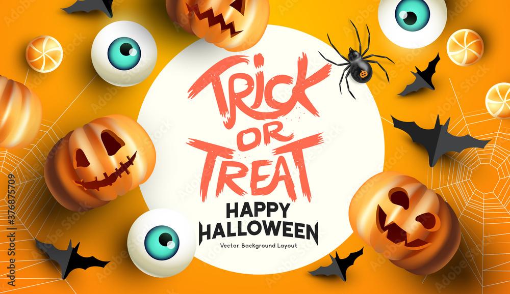 Fototapeta Spooky and fun happy halloween event mockup design background. including bats, sweets, and grinning jack o lantern pumpkins. Vector illustration.
