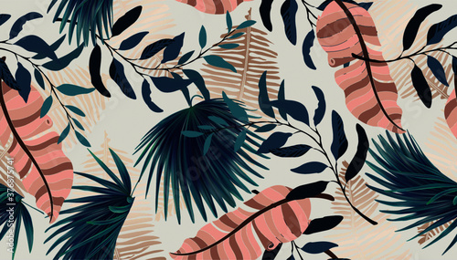 Obraz na plátne Exotic tropical vector background with Hawaiian plants and flowers