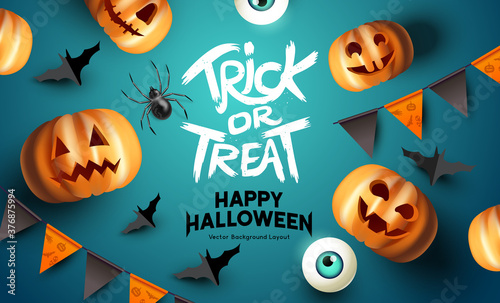 Obraz Spooky happy halloween event mockup design background. including bats, party bunting, and grinning jack o lantern pumpkins. Vector illustration. - fototapety do salonu