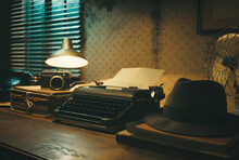 Vintage Film Noir Office Desk With Old Typewriter