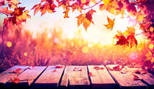 Autumn Table With Red Leaves -...