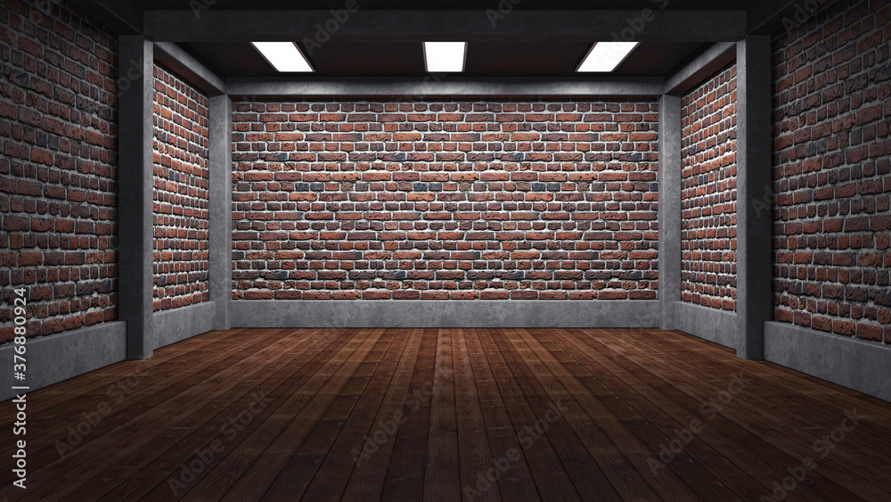 Fototapeta Empty industrial concrete room with brick wall and lighting, 3D render