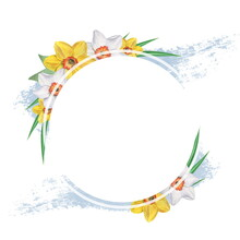 Round Frame With Daffodils And...