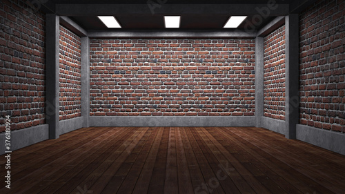 Obraz Empty industrial concrete room with brick wall and lighting, 3D render - fototapety do salonu