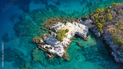 Fotomural Aerial drone photo of famous from Mamma Mia movie Three pine cape Amarantos a tr