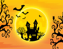 Halloween Background There Are Ghostly Red Eyed Owls, Flying Bats, Cats, And Large Yellow Moons With Space For Letters. Vector Illustration