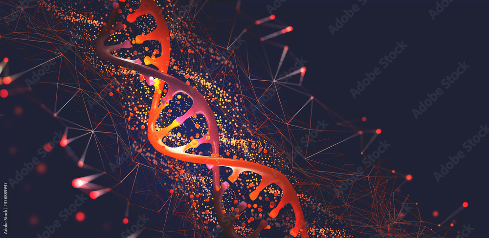 Fototapeta DNA helix 3D illustration. Mutations under microscope. Decoding genome. Virtual modeling of chemical processes. Hi-tech in medicine