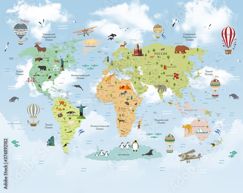 Fototapeta world map for kids obraz