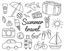 夏旅行の手書きのイラ...