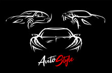 Concept Sports Car Silhouettes Vector Set. Performance Motor Vehicle Illustrations. Supercars Sign. Auto Style Dealer Transport Graphic.