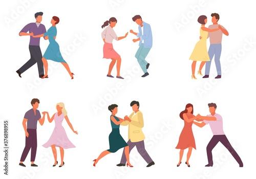 People dancing in pairs set Canvas Print