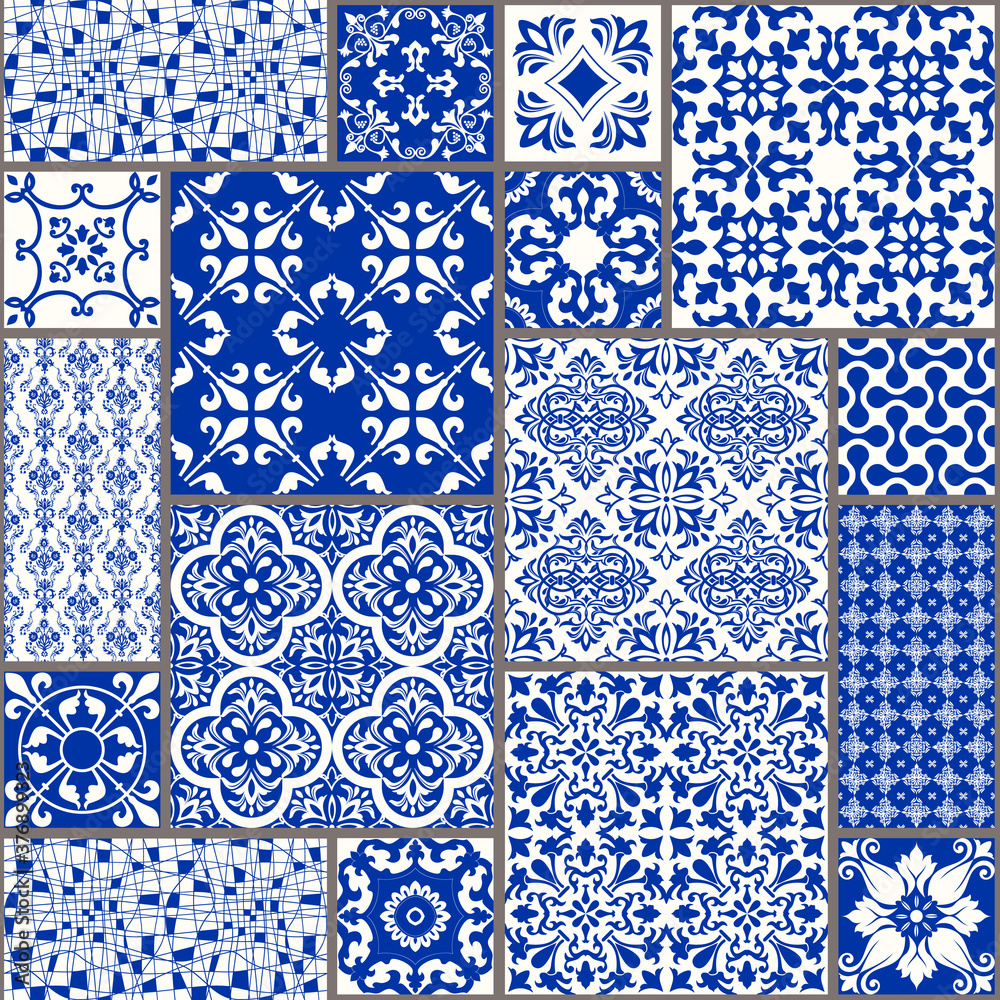 Fototapeta Vintage seamless pattern in Portugal style. Azulejo. Seamless patchwork tile in blue and white colors. Endless pattern can be used for ceramic tile, wallpaper, linoleum, textile, web page background