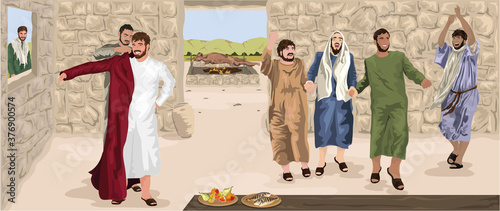 Canvas Print Prodigal Son Being Dressed In Best Robe, Celebration & Feasting (Luke 15)